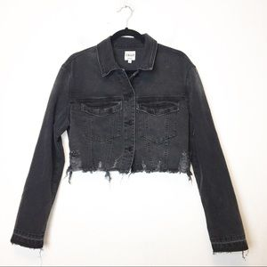 Cello Faded Black Distressed Cropped Jean Jacket